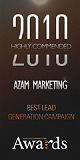 Azam Marketing was voted Highly Commended Best Lead Generation Campaign at the affiliate marketing industry's prestigious Performance Marketing Awards in the Grosvenor Hotel in London's Mayfair. In total we were finalists for five awards, a record for any agency